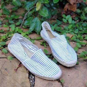 Soludos Blue & White Striped Espadrilles